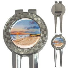 Sunset Beach Watercolor Golf Pitchfork & Ball Marker