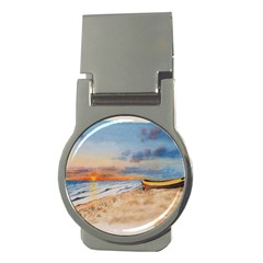 Sunset Beach Watercolor Money Clip (Round)