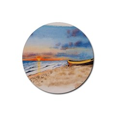 Sunset Beach Watercolor Drink Coasters 4 Pack (Round)