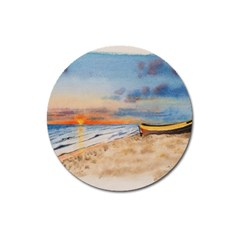 Sunset Beach Watercolor Magnet 3  (round)