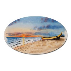 Sunset Beach Watercolor Magnet (Oval)