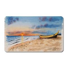 Sunset Beach Watercolor Magnet (Rectangular)
