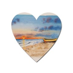 Sunset Beach Watercolor Magnet (Heart)
