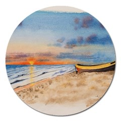 Sunset Beach Watercolor Magnet 5  (Round)