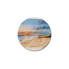 Sunset Beach Watercolor Golf Ball Marker 4 Pack