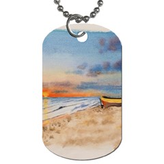Sunset Beach Watercolor Dog Tag (Two-sided)