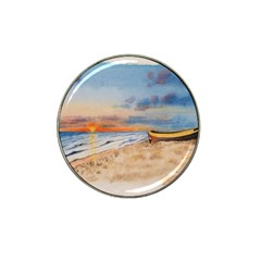 Sunset Beach Watercolor Golf Ball Marker 4 Pack (for Hat Clip)