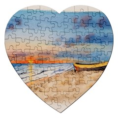 Sunset Beach Watercolor Jigsaw Puzzle (Heart)
