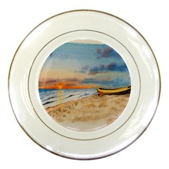 Sunset Beach Watercolor Porcelain Display Plate