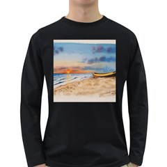 Sunset Beach Watercolor Men s Long Sleeve T-shirt (Dark Colored)