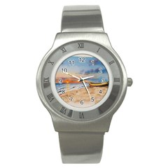 Sunset Beach Watercolor Stainless Steel Watch (slim)