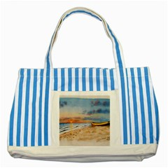 Sunset Beach Watercolor Blue Striped Tote Bag