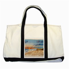 Sunset Beach Watercolor Two Toned Tote Bag