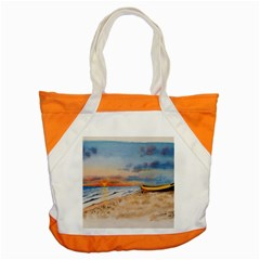Sunset Beach Watercolor Accent Tote Bag
