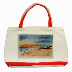 Sunset Beach Watercolor Classic Tote Bag (red)