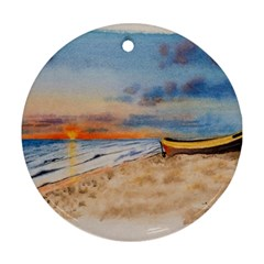 Sunset Beach Watercolor Round Ornament (Two Sides)
