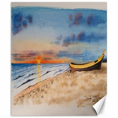 Sunset Beach Watercolor Canvas 8  x 10  (Unframed)