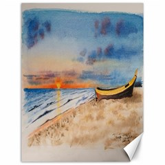 Sunset Beach Watercolor Canvas 12  x 16  (Unframed)