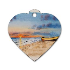 Sunset Beach Watercolor Dog Tag Heart (Two Sided)
