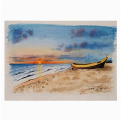 Sunset Beach Watercolor Glasses Cloth (large, Two Sided)