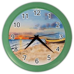 Sunset Beach Watercolor Wall Clock (Color)