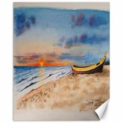 Sunset Beach Watercolor Canvas 11  x 14  (Unframed)