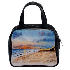 Sunset Beach Watercolor Classic Handbag (two Sides)