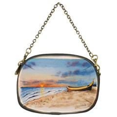 Sunset Beach Watercolor Chain Purse (one Side)