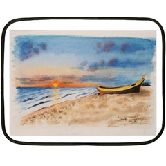 Sunset Beach Watercolor Mini Fleece Blanket (Two Sided)