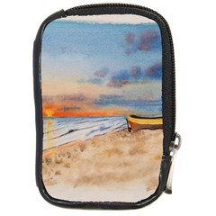 Sunset Beach Watercolor Compact Camera Leather Case