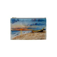 Sunset Beach Watercolor Cosmetic Bag (Small)