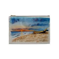 Sunset Beach Watercolor Cosmetic Bag (medium)