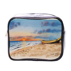 Sunset Beach Watercolor Mini Travel Toiletry Bag (one Side)