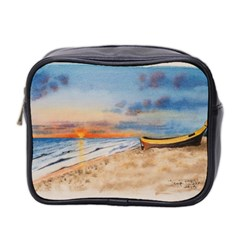 Sunset Beach Watercolor Mini Travel Toiletry Bag (two Sides)
