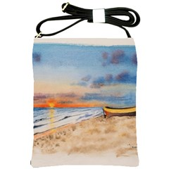 Sunset Beach Watercolor Shoulder Sling Bag