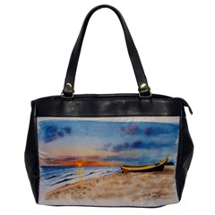 Sunset Beach Watercolor Oversize Office Handbag (One Side)