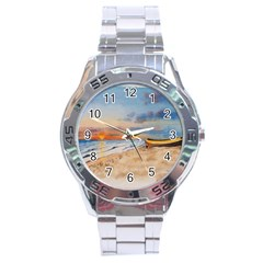 Sunset Beach Watercolor Stainless Steel Watch