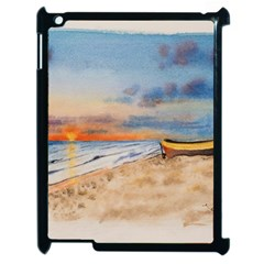 Sunset Beach Watercolor Apple iPad 2 Case (Black)