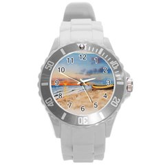 Sunset Beach Watercolor Plastic Sport Watch (Large)