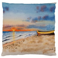 Sunset Beach Watercolor Large Cushion Case (Two Sided)