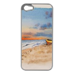 Sunset Beach Watercolor Apple iPhone 5 Case (Silver)
