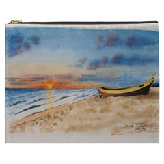 Sunset Beach Watercolor Cosmetic Bag (xxxl)