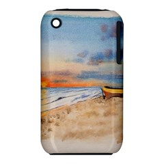 Sunset Beach Watercolor Apple Iphone 3g/3gs Hardshell Case (pc+silicone)