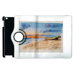 Sunset Beach Watercolor Apple iPad 2 Flip 360 Case