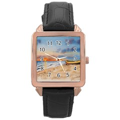 Sunset Beach Watercolor Rose Gold Leather Watch