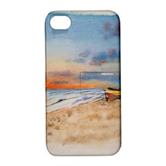Sunset Beach Watercolor Apple Iphone 4/4s Hardshell Case With Stand