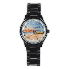 Sunset Beach Watercolor Sport Metal Watch (black)