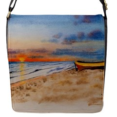 Sunset Beach Watercolor Flap Closure Messenger Bag (Small)