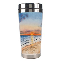 Sunset Beach Watercolor Stainless Steel Travel Tumbler