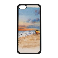 Sunset Beach Watercolor Apple iPhone 5C Seamless Case (Black)